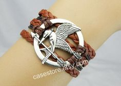 Mockingjay pin braceletred Brownleather by charmcover on Etsy, $7.99