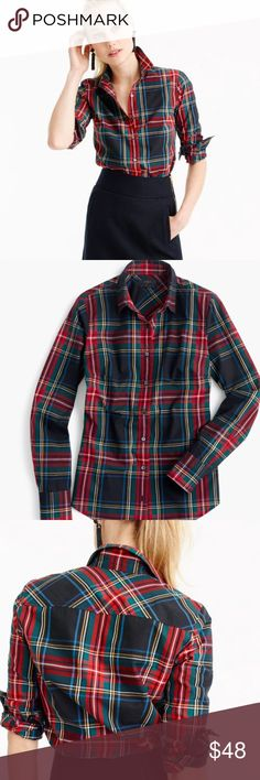 J.crew Stewart plaid shirt The perfect tailored plaid shirt!  Brand new - never worn with tag.  No trade and no lowball offers, thanks! J. Crew Tops Button Down Shirts