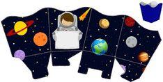 Fábrica de Sonhos: Caixinhas Astronauta - 1 Outer Space Party, Galaxy Theme, Diy And Crafts, Paper Crafts, Sons Birthday, Space Theme, Paper Toys, Party Printables, Party Themes
