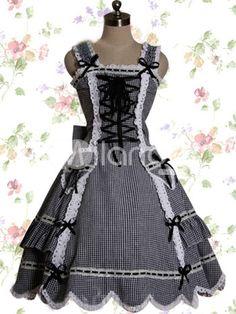 Black and White Cotton Lolita Dress $68.99