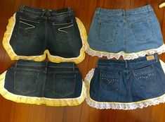 Denim gardening or kitchen aprons / four available
