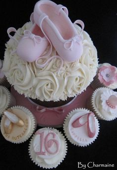 A collection of ballet cupcakes and giant cupcake - Cake by Charmaine