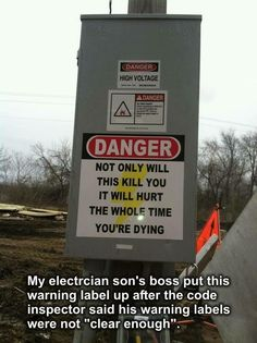 The Darwin Awards ( Funny Signs, Funny Jokes, Funny Insults, Funny Captions, Funny Texts, Ingenieur Humor, Electrician Humor, Electrician Wiring, Darwin Awards