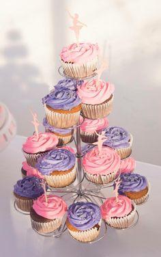 Ballerina party cupcakes pink and purple tutu cute
