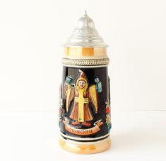 Vintage Lusterware Beer Stein Monk's Beer Pewter Lid Circa 1960s