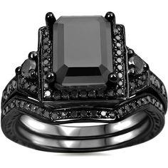 Noori 14k Black Gold 2 1/4ct TDW Black Emerald Cut Diamond Bridal Ring... (52.390 UYU) ❤ liked on Polyvore featuring men's fashion, men's jewelry, men's rings, rings, jewelry, black, accessories, joias, mens diamond band wedding ring and mens engagement rings