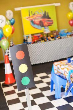 Traffic Light Sign + Cone Decor from a Hot Wheels + Car Birthday Party via Kara's Party Ideas | KarasPartyIdeas.com (27)