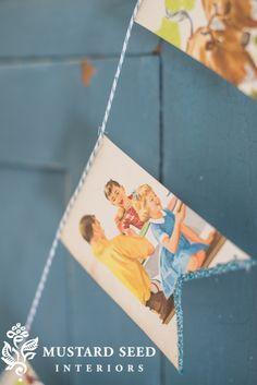 vintage children's book bunting   miss mustard seed