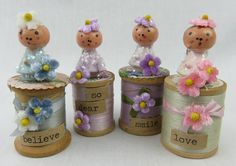 Shabby cottage Vintage spool with little Fairy pale by BeachPomPom
