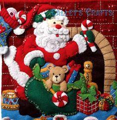Bucilla Must Be Santa Felt Christmas Advent Calendar Kit Felt Christmas, Christmas Stockings, Christmas Ornaments, Christmas Eve, Christmas Decor, Felt Advent Calendar, Advent Calendars, Felt Stocking, Felt Applique
