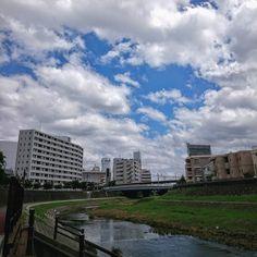 今日は雲が多いけど 暑い 午後から雨の予報だとか  #戸塚駅  #柏尾川  #空 #青空 #雲 #夏  #sky #skyline #bluesky #cloud #sunnyday  #japan #landscape  #today #daily #instagram #instagramjapan #instalike #instagood #instaoftheday #photooftheday #picoftheday
