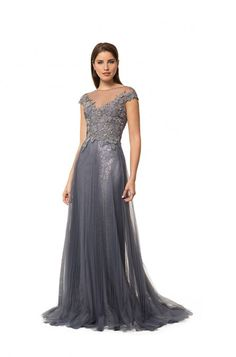 8861f674c58a Style 6220 - Liancarlo - Italian Guipure cap-sleeve portrait bodice on  pleated French tulle skirt in Gunmetal. Liancarlo · Liancarlo Evening  Collection