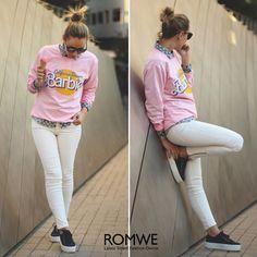 ROMWE Barbie Print Pink Sweatshirt