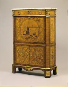 Drop-front Secretary (Secretaire à abbatant) attributed to Mathias Wolff circa 1775 on display on the Second Floor Hall
