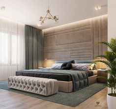 Master bed room on Behance Modern Luxury Bedroom, Luxury Bedroom Design, Modern Master Bedroom, Luxurious Bedrooms, Stylish Bedroom, Room Design Bedroom, Bedroom Furniture Design, Bedroom Layouts, Bedroom Decor