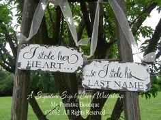 I STOLE HER HEART... So I Stole his Last Name Set, Chair Hangers, Shabby Chic Wedding, Beach Wedding, Vintage Wedding Decor, Rustic Wedding. $36.00, via Etsy.