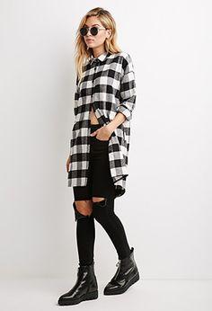 Plaid Flannel Oversized Shirt | Forever 21 - 2000141792