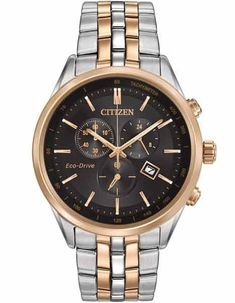 Citizen Eco Drive Chrono Dress watch two tone rose/steel AT2146-59E