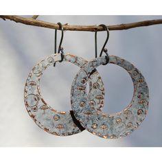 Hoop earrings, Copper hoops, Vintage patina earrings, Sterling silver... ($24) ❤ liked on Polyvore featuring jewelry, earrings, copper earrings, hammered hoop earrings, hammered copper earrings, sterling silver jewelry and vintage sterling silver jewelry