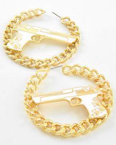 Gold Tone Metal / White Epoxy / Lead Compliant / Gun Hoops / Post Earring Set