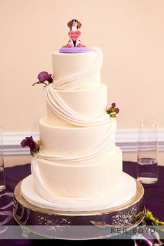 Ambrosia Cake Creations in Raleigh, NC.  Raleigh weddings.  Wedding cake.  Dog cake topper.  Purple weddings.