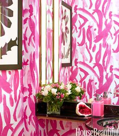 Dare to go bold? This gutsy pattern pops against black marble. If you can't go permanent, try a shower curtain in a punchy color or print. Works great in kids' bathrooms, too!