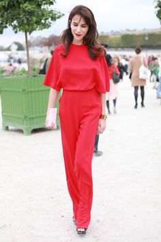 Paris Street Style: Caroline Seiber worked it in a head-to-toe red.