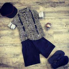 Rock Your Baby leopard shirt, Munster shorts, Havaianas, Fallen Broken Street cap and Hiccup POP Vinyl