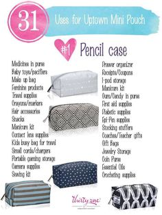 31 uses for thirty one uptown mini pouch https://www.mythirtyone.com/lisaknode