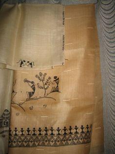 Manufacturer of Hand Painted Products - Hand Painted Silk Saree, Warli Stole, Madhubani Silk Saree and Pattachitra Dupatta offered by Hastkala Apparels, Dumka, Jharkhand. Saree Painting Designs, Fabric Paint Designs, Hand Painted Sarees, Hand Painted Fabric, Madhubani Art, Madhubani Painting, Worli Painting, Fabric Painting, Fabric Paint Shirt