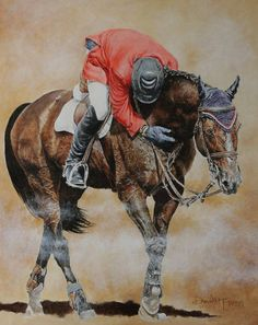 Beautiful painting by David Mcewen of Eric Lamaze and Hickstead!