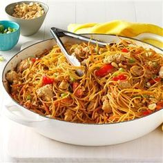 Thai Chicken Peanut Noodles Recipe from Taste of Home -- shared by Jennifer Fisher of Austin, Texas