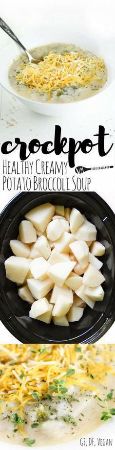 Dairy-Free Crockpot Broccoli Potato Soup recipe made healthy! It's delicious, it's creamy, and it is chock-full of potatoes and broccoli! Best way to a hearty, warm, and filling meal. {Gluten-Free, Dairy-Free and Vegan friendly}