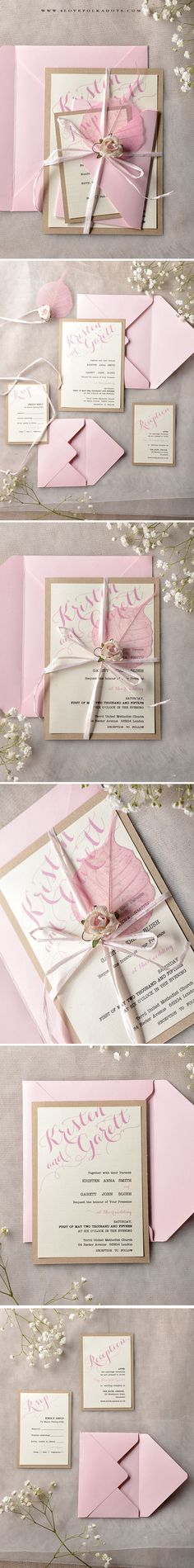 Handmade Wedding Invitations with flower & leaf #summerwedding #weddingideas