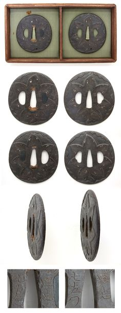 Edo Round shape iron Tsuba, the maple leaf is engraved with gold and silver inlay.