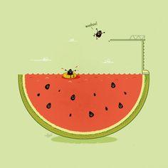 Funny vector art! Adobe Illustrator, Conceptual Illustrations, Food Illustrations, Cute Puns, Punny Puns, Watermelon Illustration, Funny Drawings, Cute Pictures, Random Pictures
