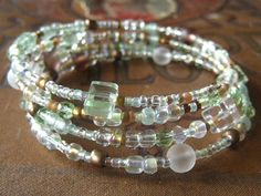 Beaded Memory Wire Bracelet Multi Strand Light by SlightlyWired, $16.50