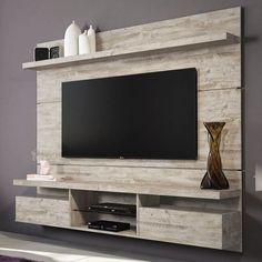Painel home theater suspenso livin aspen - hb móveis tv palet mobilya, Home Theater Setup, Home Theater Seating, Home Theater Design, Tv Unit Design, Tv Wall Design, Living Room Tv, Living Spaces, Floating Shelves Kitchen, Muebles Living