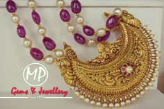 Antique plain gold pendant strung in fine quality ruby and south sea pearl maala. A traditional beautiful piece crafted for every generation. Gold Jewellery Design, Bead Jewellery, Temple Jewellery, Gems Jewelry, Beaded Jewelry, Antique Jewellery, Indian Wedding Jewelry, Indian Jewelry, Gold Pendent