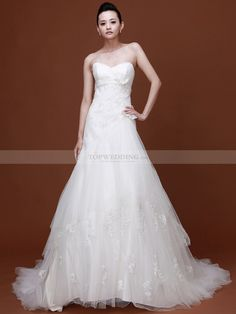 Sweetheart Appliqued Tulle Princess Bridal Gown with Bows 1008032
