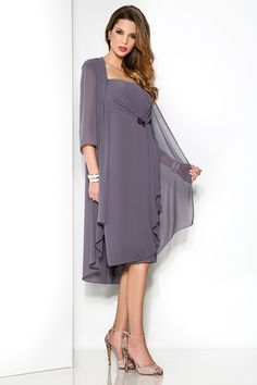 Wishesbridal Cheap Straps Knee Length Grey #Chiffon Sheath Column #MotherOfTheBrideDress With Jacket B2cp0012