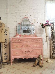 Vintage Shabby Chic Furniture | Painted Cottage Chic Shabby Vintage Dresser #shabbychicdressersvintage