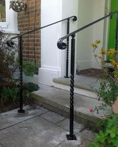 Adjustable angle wrought Iron style handrail With Posts - Sheffield Architectural Metalworkers Exterior Handrail, Wrought Iron Handrail, Iron Handrails, Solid Brick, Newel Posts, Metal Working, Interior And Exterior, Ladder Decor, Custom Design