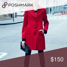 """Red lambswool coat 🚫🅿️🅿️🚫Trades🚫Add a pop of color this winter with this fabulous red lambswool coat. A wide notch collar lends timeless elegance to a walking coat tailored for a figure-flattering fit. In great condition, no stains or rips.  36 1/2"""" L. 16"""" shoulder across. 26"""" sleeve length. 19"""" chest across.  Three-button closure. Front pockets. Lined, with padded shoulders. Back vent. 80% lambswool, 20% nylon; dry clean. Runs a bit large so may fit a 9-10 Kristen Blake Jackets & Coats…"""