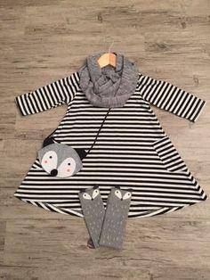 Vestido a rayas blanco y negro de niña