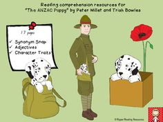 """This resource includes reading comprehension resources for the picturebook, """"The ANZAC Puppy"""" by Peter Miller.  It includes a synonym snap game (in colour and black and white/outline), an adjectives activity and text connections (text-to-self, text-to-text and text-to-world). Text To World, Adjectives Activities, Text To Text Connections, Text To Self, Anzac Day, Character Trait, Aussies, Reading Comprehension, Outline"""