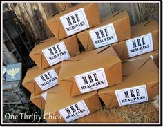 This crafty mom designed her own MRE boxed lunches for her son's army themed birthday party! Cool ideas!