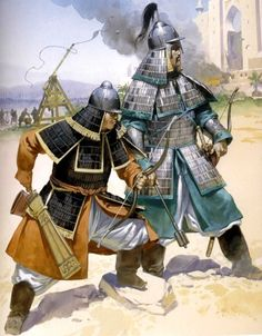 A Mongol officer and an archer during the siege of Baghdad.