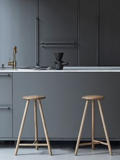 Wooden kitchen stools | look fabulous against the grey