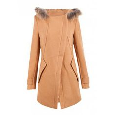 Elegant Turn-Down Collar Long Sleeve Solid Color Hooded Coat For Women, CAMEL, XL in Jackets & Coats | DressLily.com